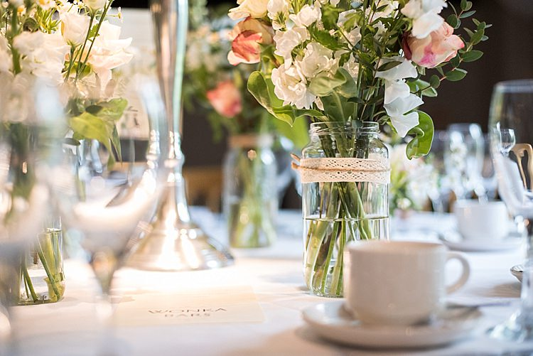 Lace Twine Jar Flowers Beautiful Country House Wedding http://www.fionasweddingphotography.co.uk/