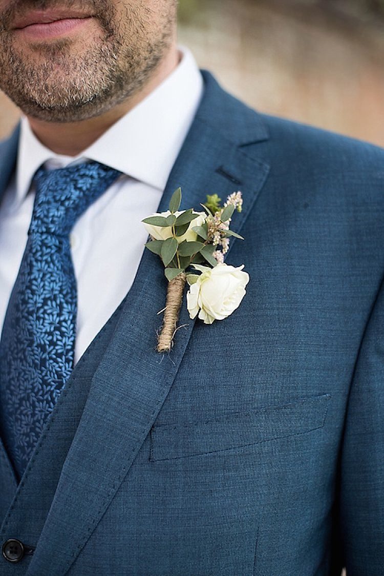 White Buttonhole Flowers Twine Groom Beautiful Country House Wedding http://www.fionasweddingphotography.co.uk/