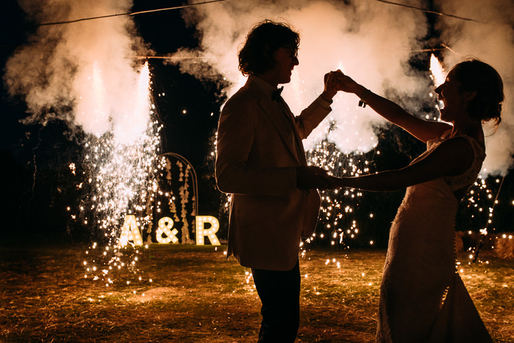 Fireworks First Dance Creative Festival Tipi Wedding http://www.annapumerphotography.com/