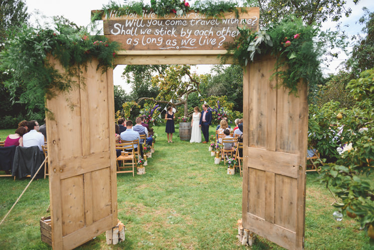 Doors Backdrop Quote Ceremony Stylish Festival Farm Garden Wedding http://www.lisadawn.co.uk/