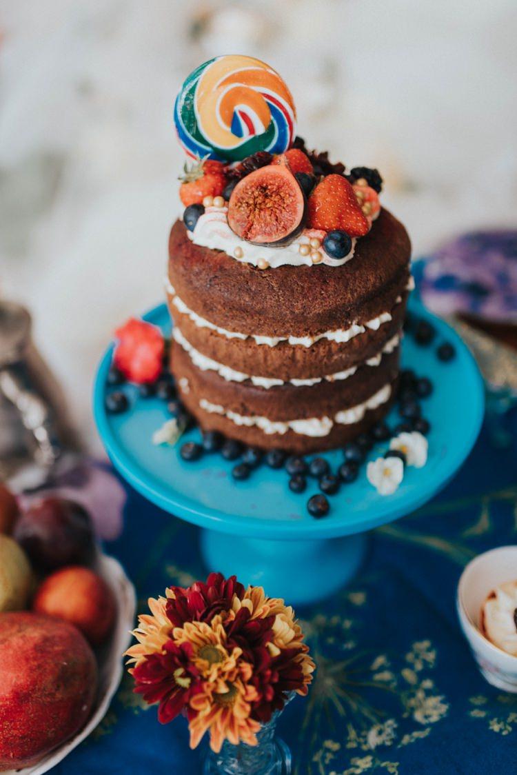 Naked Cake Layer Chocolate Fruit Sponge Alice in Wonderland Wedding Ideas http://nataliepluck.com/