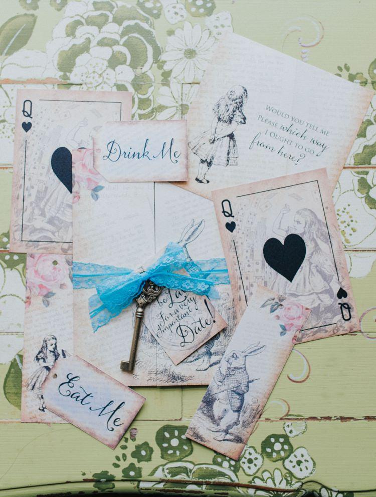 Stationery Invitations Key Alice in Wonderland Wedding Ideas http://nataliepluck.com/