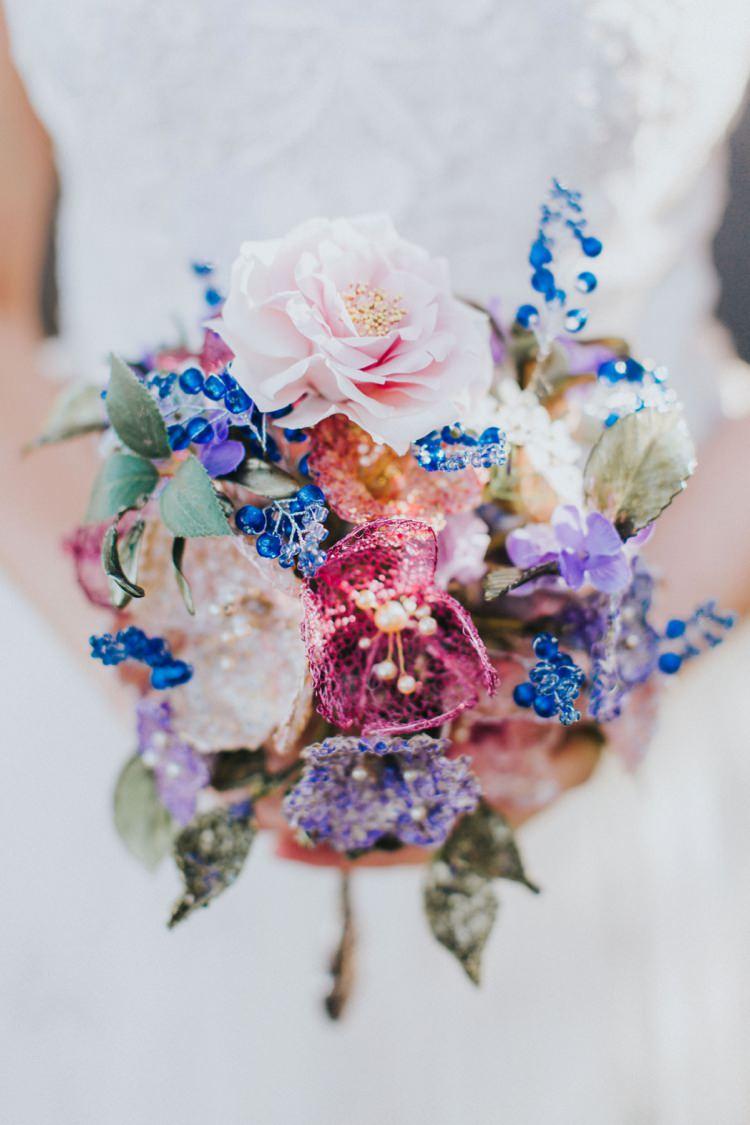 Bouquet Pink Blue Flowers Bride Bridal Alice in Wonderland Wedding Ideas http://nataliepluck.com/