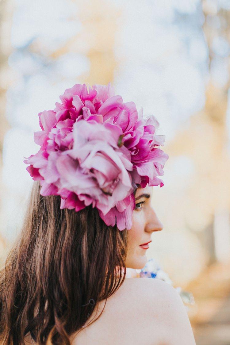 Pink Flower Hair Head Dress Accessory Bride Bridal Alice in Wonderland Wedding Ideas http://nataliepluck.com/