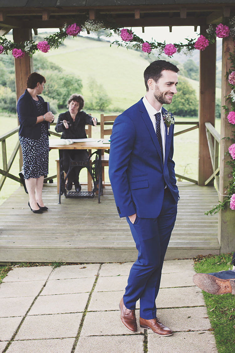 Groom Blue Suit Ted Baker Stylish Relaxed Fun Marquee Wedding http://www.bennicarolweddingphotography.com/