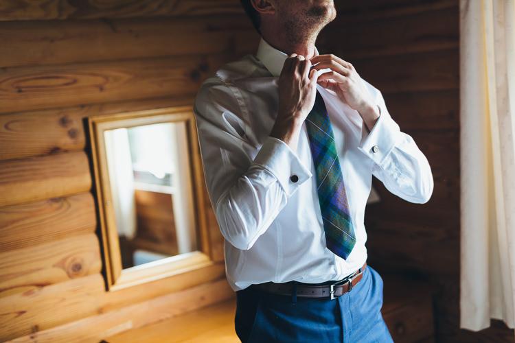 Tartan Tie Groom Intimate Outdoor Isle of Skye Wedding http://sarahbethphoto.co.uk/