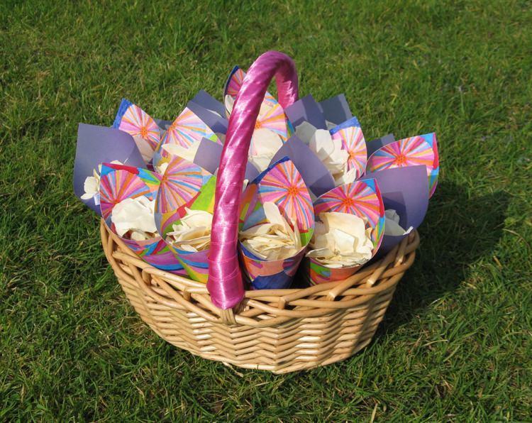 Colourful Confetti Basket. Credit- The Real Flower Petal Confetti Company