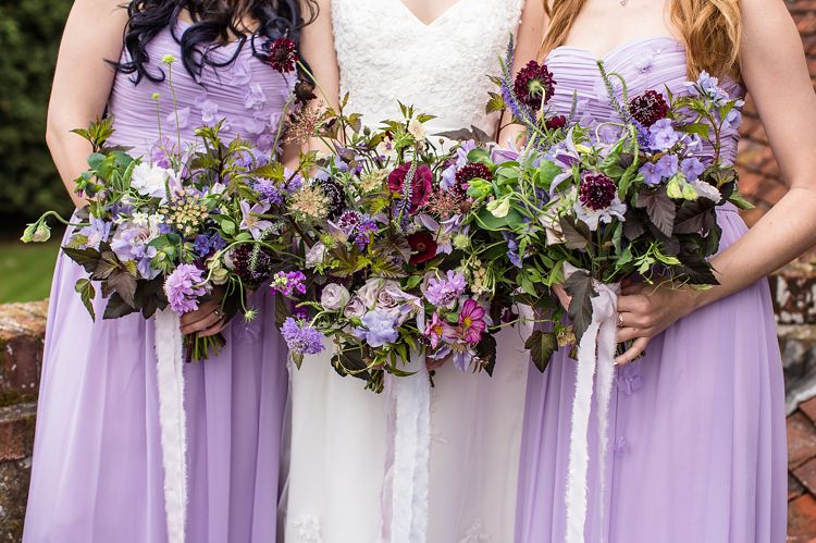 Bouquets Bridesmaids Flowers Lilac Ribbons Natural Ethereal Purple Wedding http://www.katherineashdown.co.uk/