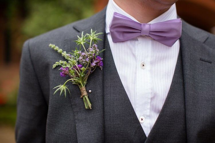 Bow Tie Groom Buttonhole Natural Ethereal Purple Wedding http://www.katherineashdown.co.uk/