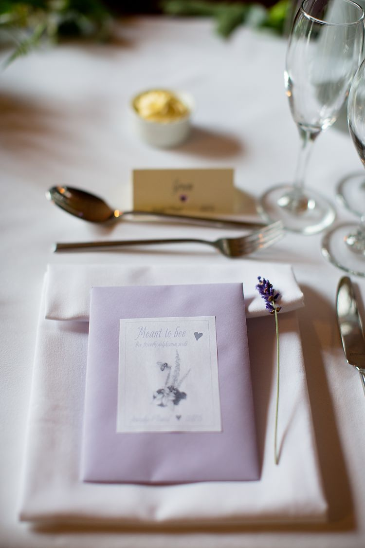 Seed Favours Lavender Place Setting Natural Ethereal Purple Wedding http://www.katherineashdown.co.uk/