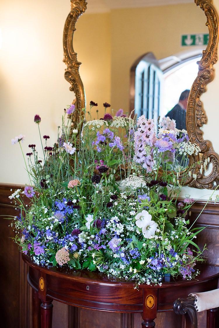 Meadow Flower Arangements Wild Ceremony Natural Ethereal Purple Wedding http://www.katherineashdown.co.uk/