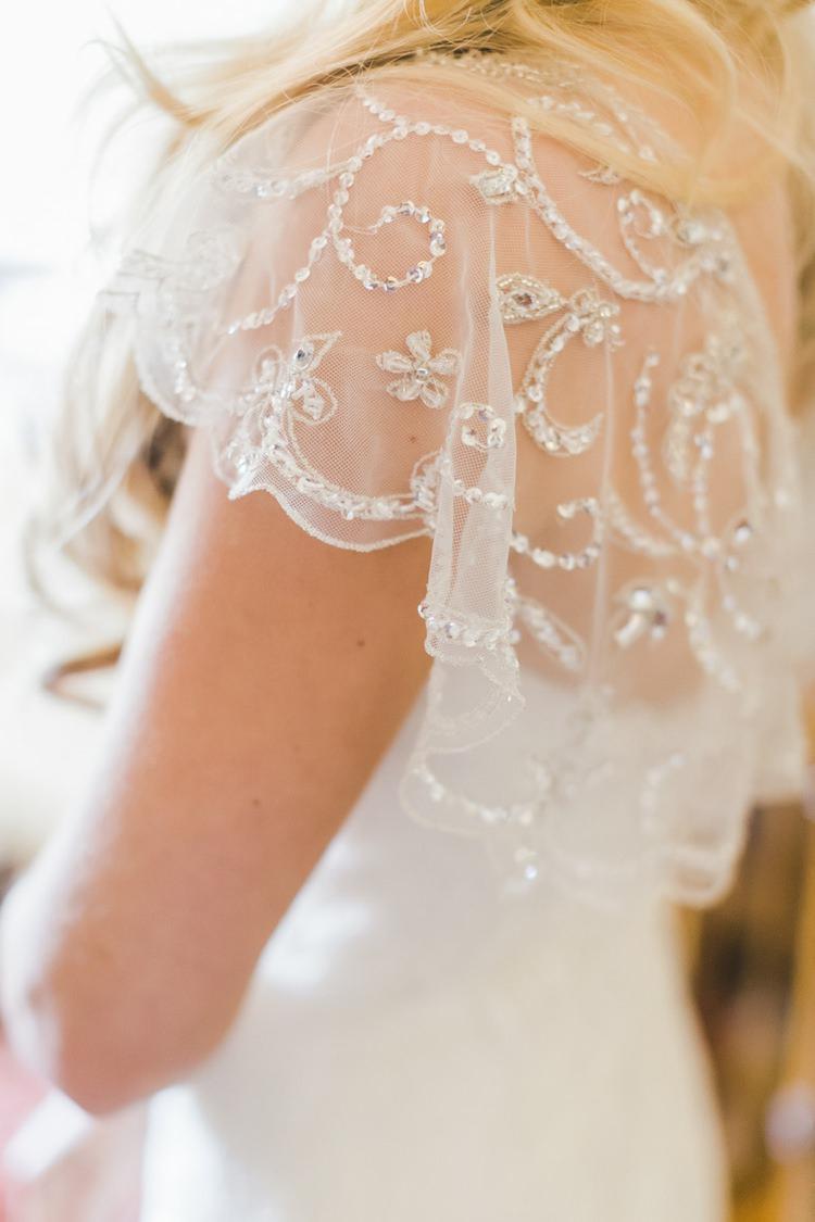 Dress Gown Bride Bridal Sleeve Cap Embellished Sheer Fantastical Woodland Renaissance Wedding in California http://www.milouandolin.com/
