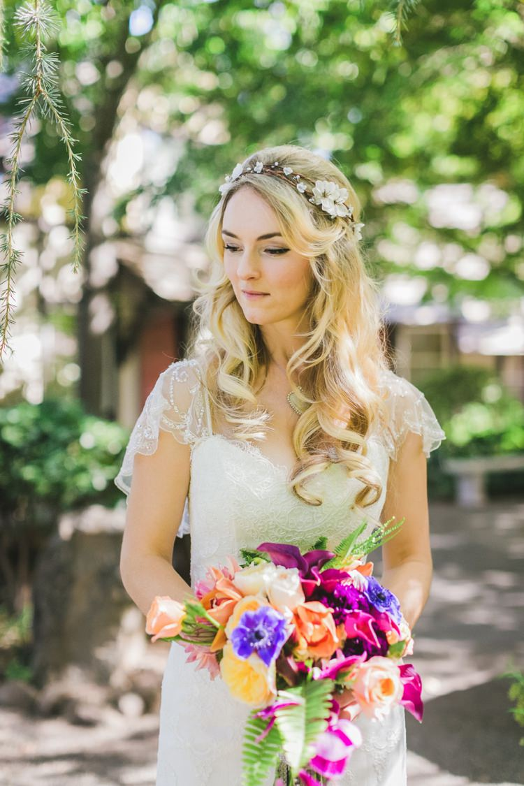 Bride Bridal Gown Dress Hair Waves Curls Fantastical Woodland Renaissance Wedding in California http://www.milouandolin.com/