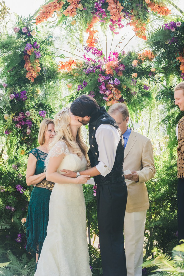 Flower Floral Backdrop Arch Ceremony Fantastical Woodland Renaissance Wedding in California http://www.milouandolin.com/