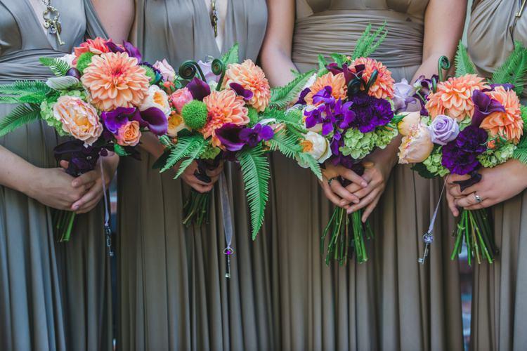 Bridesmaids Bouquets Ferns Dahlia Orange Purple Fantastical Woodland Renaissance Wedding in California http://www.milouandolin.com/