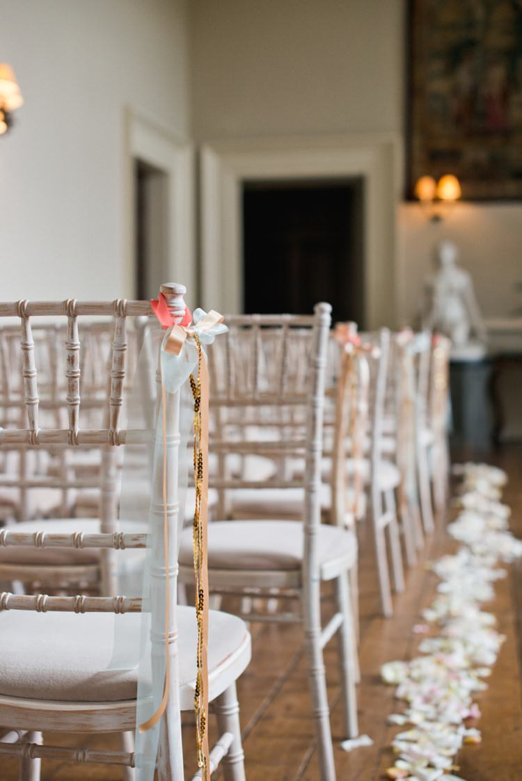 Ribbon Chair Decor Aisle Colourful Pastel Sequin Wedding http://www.laurapower.co.uk/