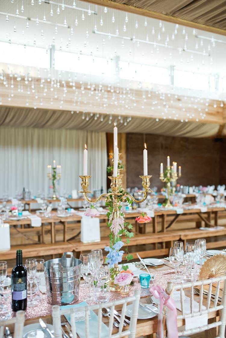 Chandelier Table Decor Setting Centrepiece Colourful Pastel Sequin Wedding http://www.laurapower.co.uk/