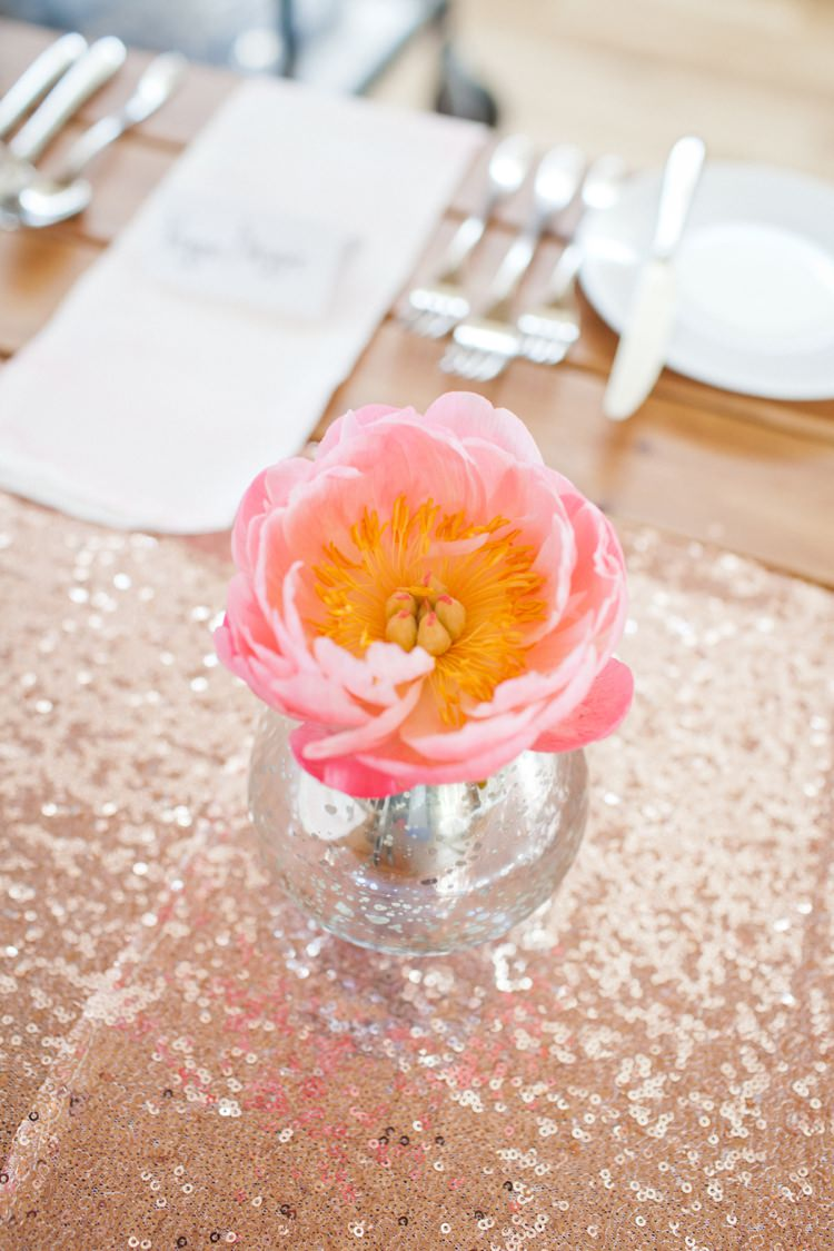 Coral Peony Gold Table Runner Cloth Decor Colourful Pastel Sequin Wedding http://www.laurapower.co.uk/