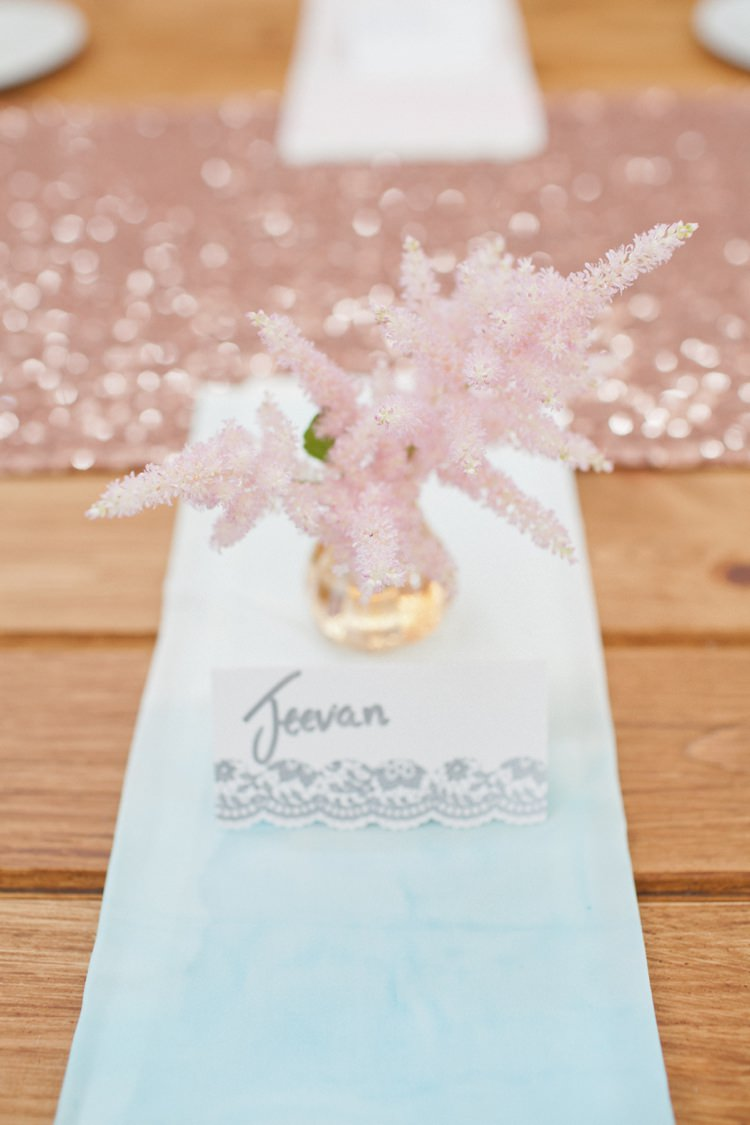 Astible Place Name Setting Flowers Pink Colourful Pastel Sequin Wedding http://www.laurapower.co.uk/