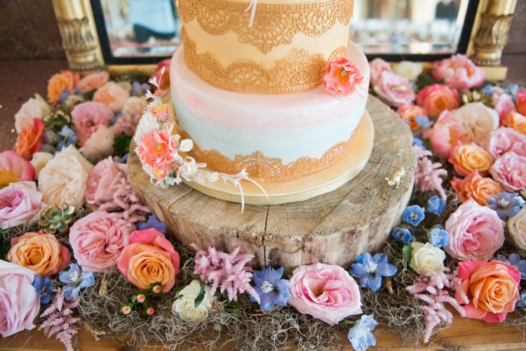 Log Flowers Stand Cake Colourful Pastel Sequin Wedding http://www.laurapower.co.uk/