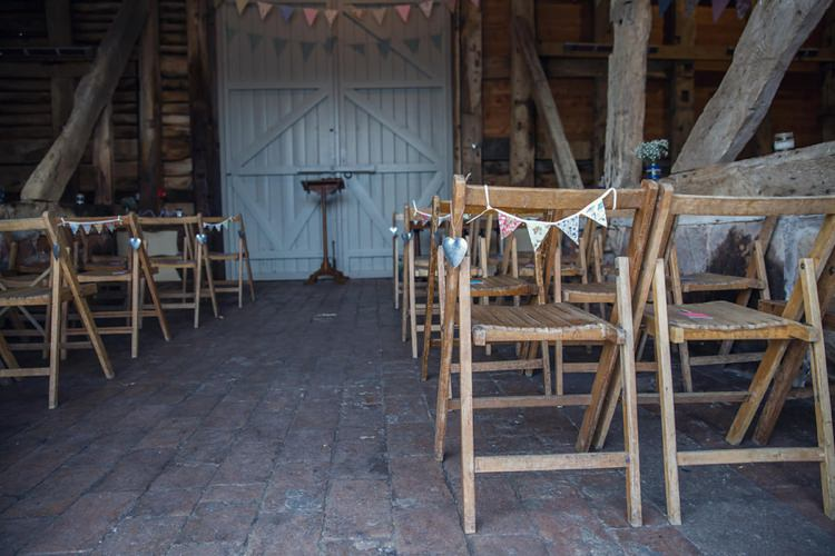 Chairs Rustic Ceremony Bunting Eclectic Cool Barn Wedding http://assassynation.co.uk/