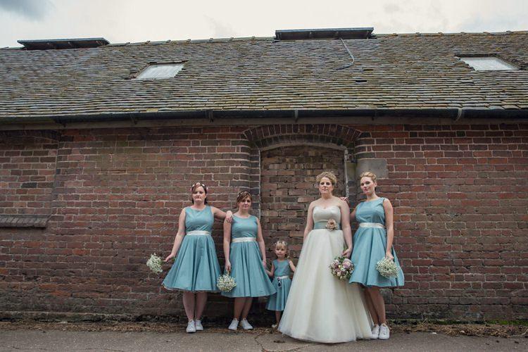 Green Blue Short Bridesmaid Dresses Eclectic Cool Barn Wedding http://assassynation.co.uk/