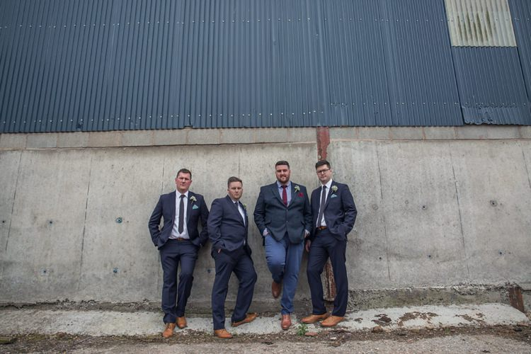 Navy Groom Groomsmen Suits Eclectic Cool Barn Wedding http://assassynation.co.uk/