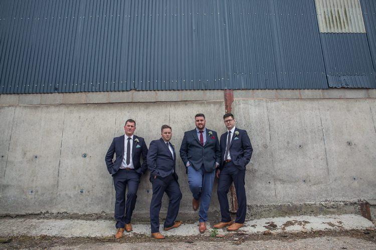 Navy Groom Groomsmen Suits Eclectic Cool Barn Wedding http://assassynation.co.uk/