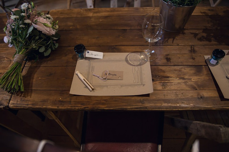 Kraft Brown Paper Card Place Mats Eclectic Cool Barn Wedding http://assassynation.co.uk/