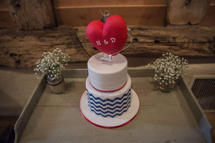 Chevron Cake Heart Topper Red Blue Eclectic Cool Barn Wedding http://assassynation.co.uk/