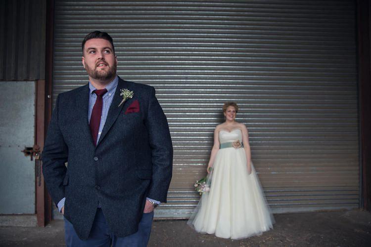 Groom Jacket Trousers Denim Shirt Tie Eclectic Cool Barn Wedding http://assassynation.co.uk/