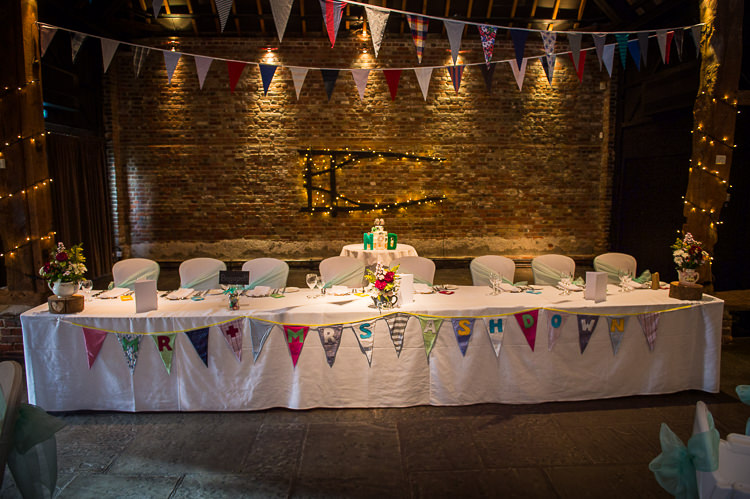 Top Table Bunting Quirky Crafty Tea Infused Wedding http://jamesgristphotography.co.uk/