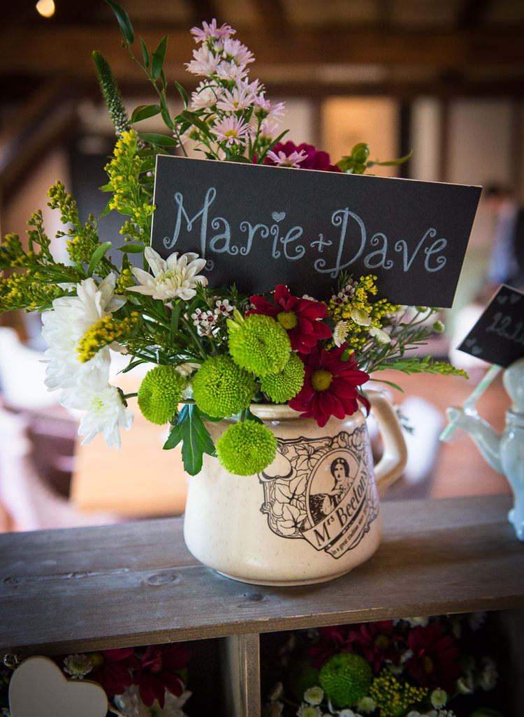 Tea Pot Flowers Black Chalk Board Sign Quirky Crafty Tea Infused Wedding http://jamesgristphotography.co.uk/