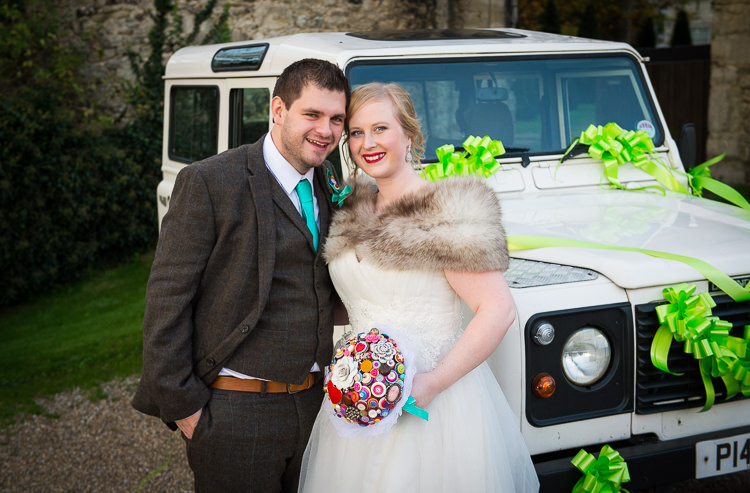 Land Rover Car Transport Quirky Crafty Tea Infused Wedding http://jamesgristphotography.co.uk/