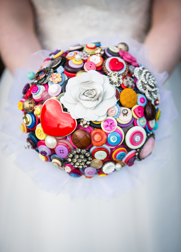 Button Bouquet Alternative Bride Bridal Hearts Colourful Quirky Crafty Tea Infused Wedding http://jamesgristphotography.co.uk/