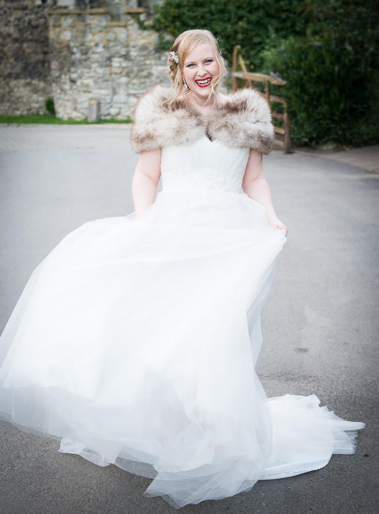 Amanda Wyatt Dress Bride Bridal Gown Fur Stole Quirky Crafty Tea Infused Wedding http://jamesgristphotography.co.uk/