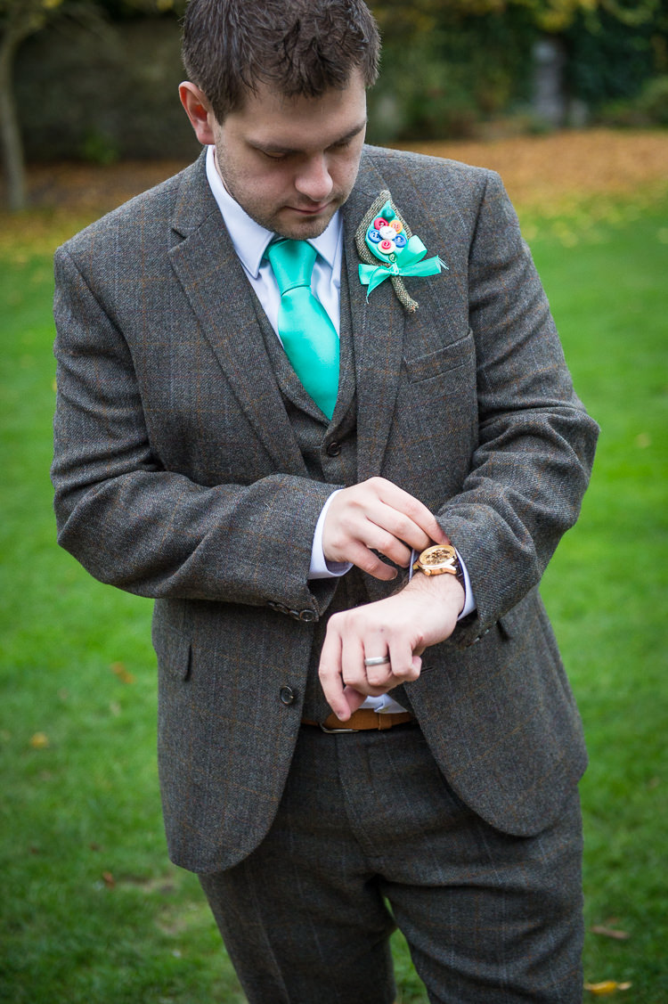Wool Suit Groom Turquoise Tie Quirky Crafty Tea Infused Wedding http://jamesgristphotography.co.uk/