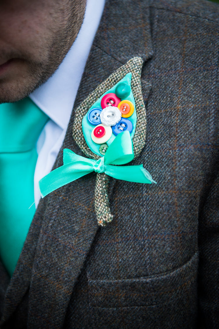 Button Buttonhole Groom Alternative Quirky Crafty Tea Infused Wedding http://jamesgristphotography.co.uk/