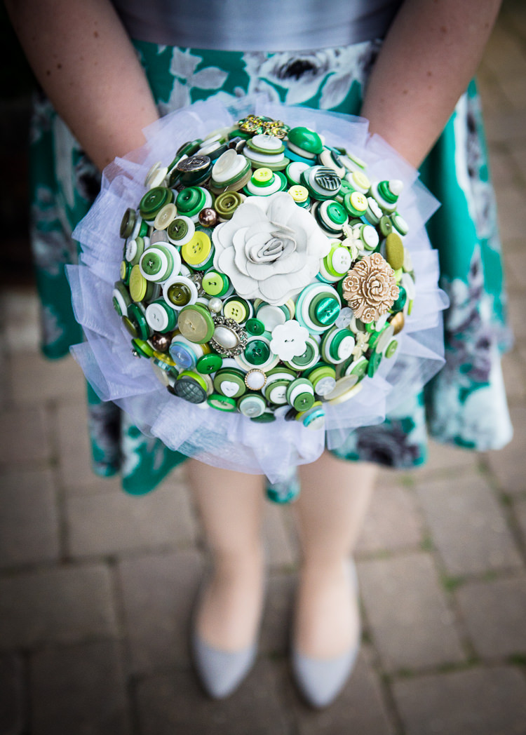 Bridesmaid Bouquet Green Buttons Alternative Quirky Crafty Tea Infused Wedding http://jamesgristphotography.co.uk/