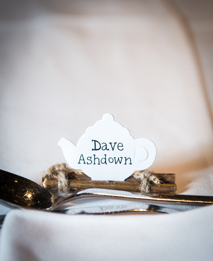 Tea Pot Place Name Cards Quirky Crafty Tea Infused Wedding http://jamesgristphotography.co.uk/