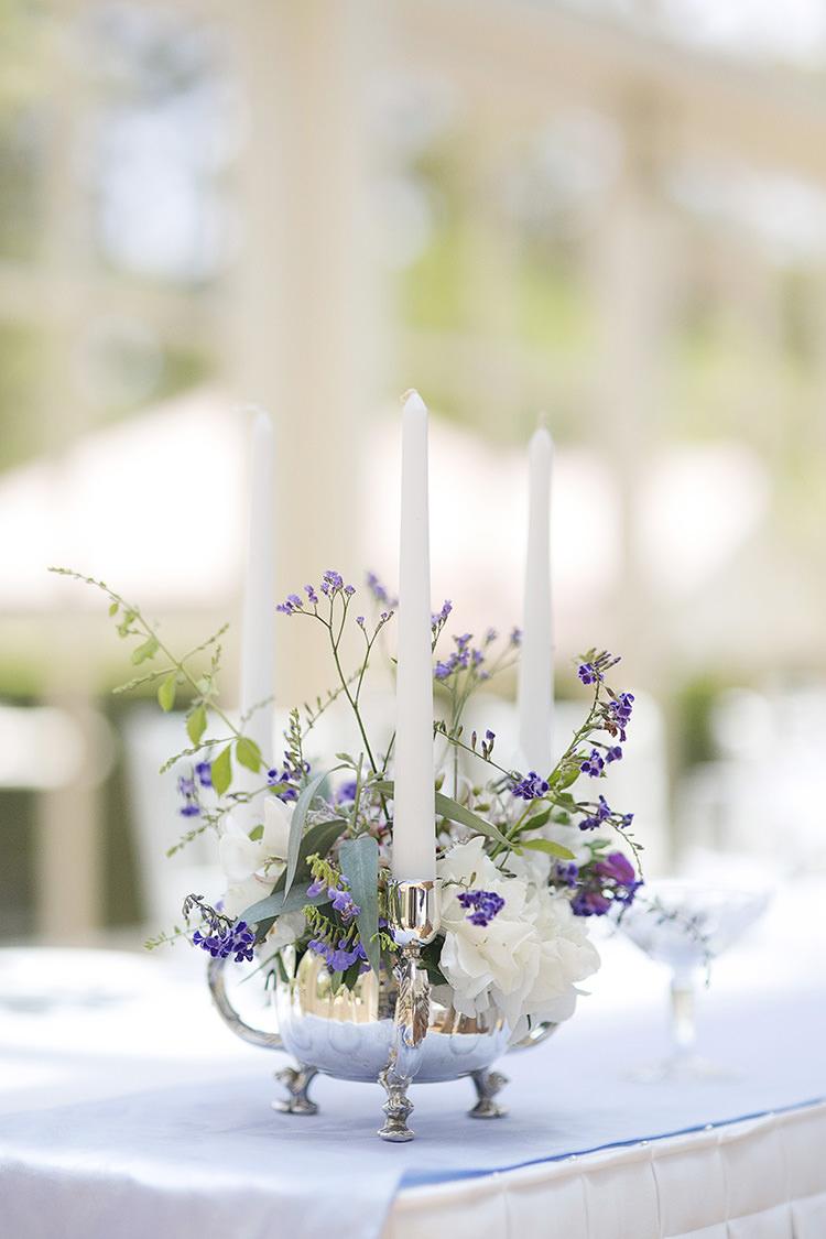Flowers Centrepiece Candles Cornflower Blue Garden Wedding Australia http://brischetto.net/