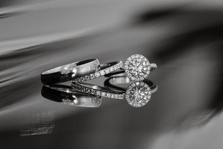 Rings Bands Diamonds Bride Groom Halo Cornflower Blue Garden Wedding Australia http://brischetto.net/