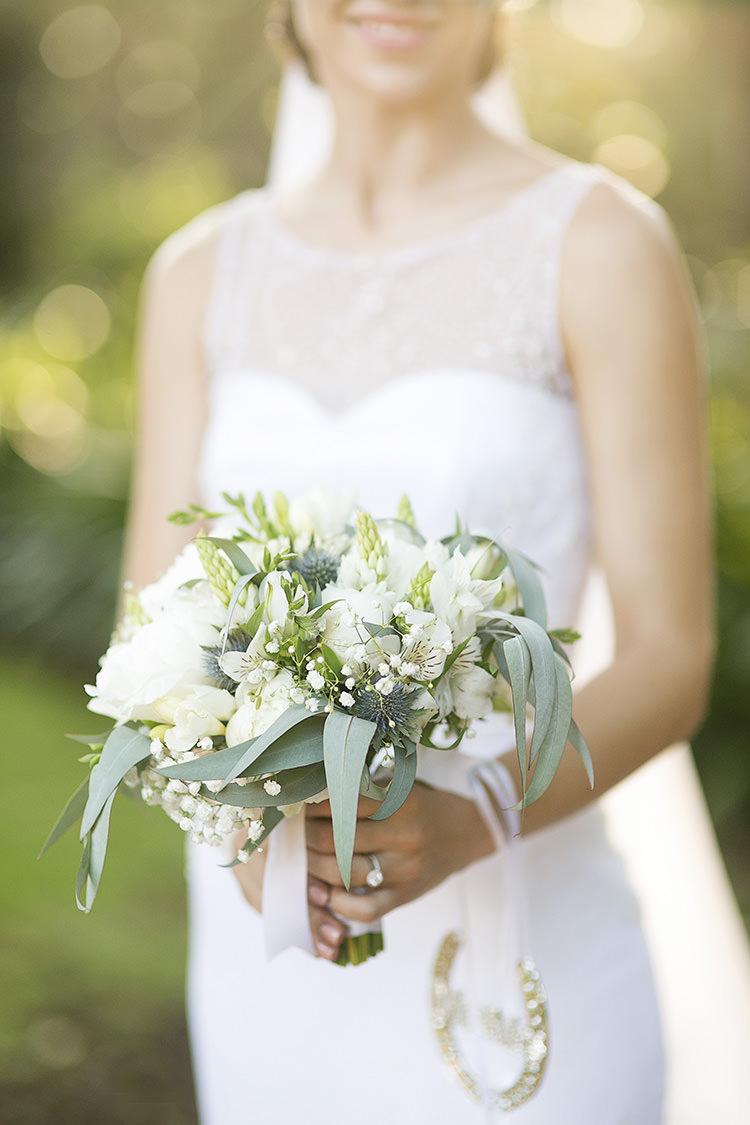 White Bouquet Flowers Bride Bridal Green Foliage Cornflower Blue Garden Wedding Australia http://brischetto.net/