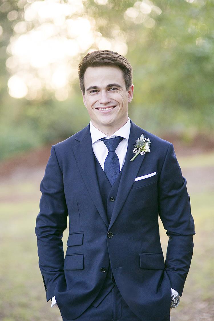 Navy Blue Groom Suit Tie Cornflower Blue Garden Wedding Australia http://brischetto.net/