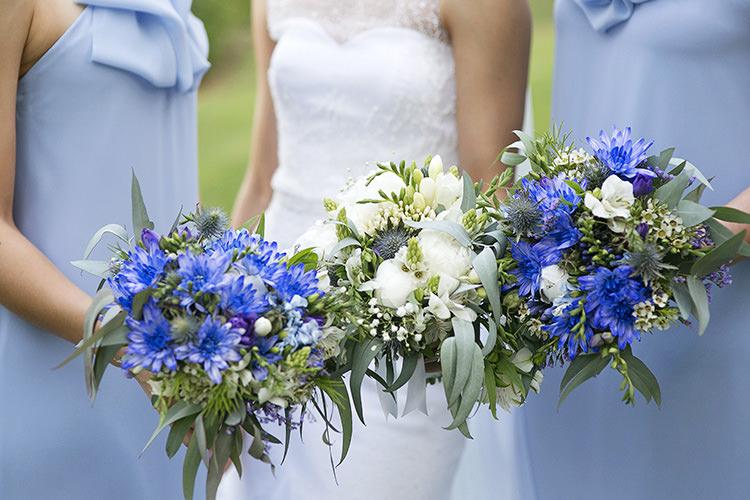White Bouquets Flowers Bride Bridal Bridesmaids Cornflower Blue Garden Wedding Australia http://brischetto.net/