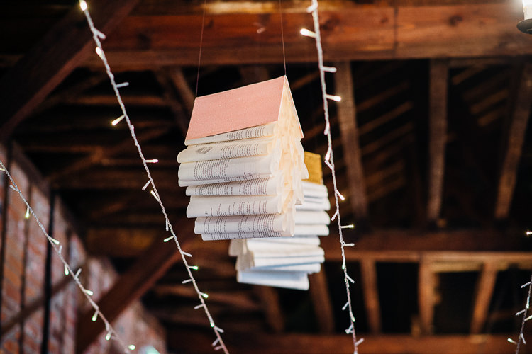 Hanging Decor Books & History Sparkly Pastels Wedding http://www.mariannechua.com/