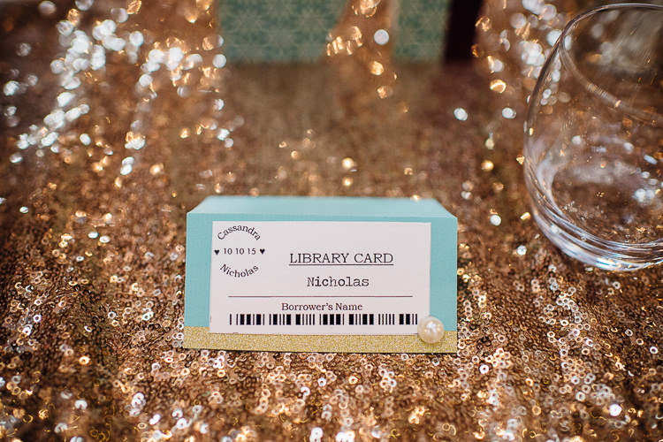 Library Place Name Card Books & History Sparkly Pastels Wedding http://www.mariannechua.com/