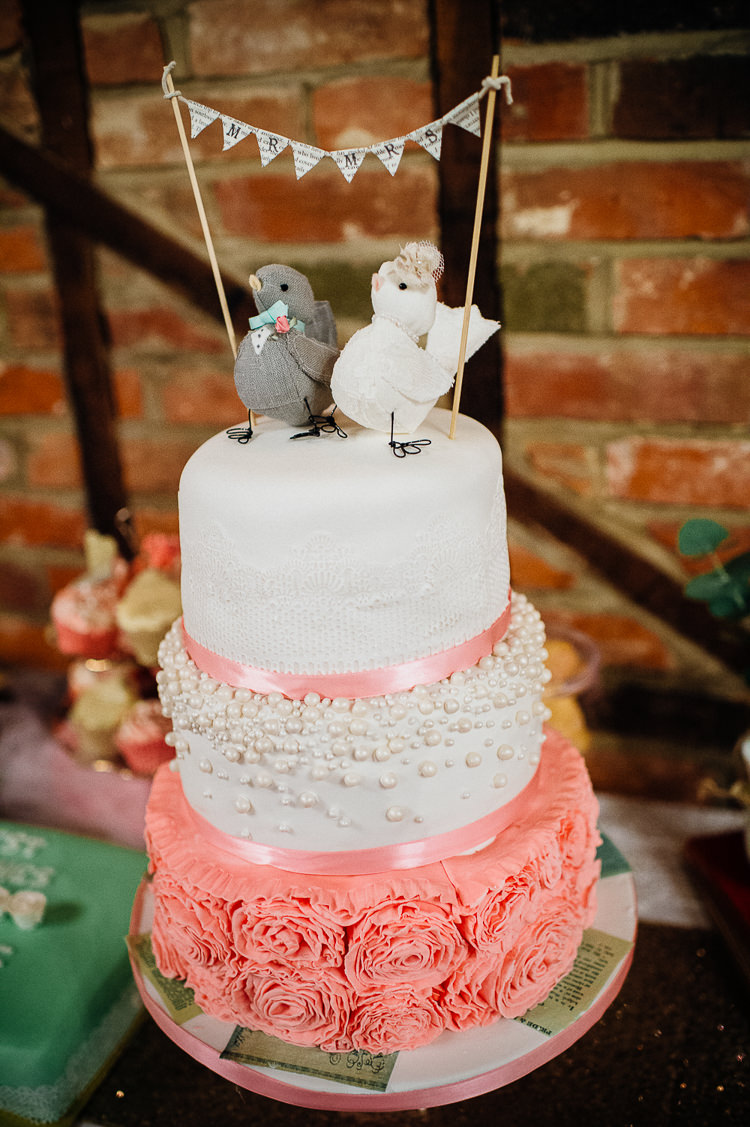 Cake Pink White Ruffle Flowers Bunting Birds Topper Books & History Sparkly Pastels Wedding http://www.mariannechua.com/