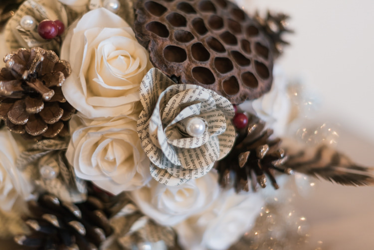 Paper Pinecone Bouquet Bride Bridal Glamorous Gold Halloween Wedding http://www.oliviajohnstonweddings.co.uk/