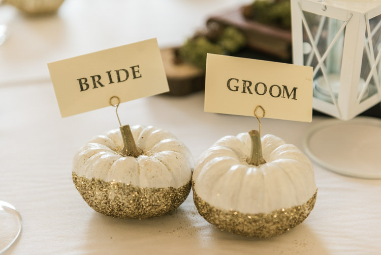 Pumpkins Painted Glitter Place Names Setting Glamorous Gold Halloween Wedding http://www.oliviajohnstonweddings.co.uk/